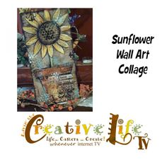 Mixed Media Sunflower Canvas by Linda Peterson...you might need to scroll down for the tutorial....