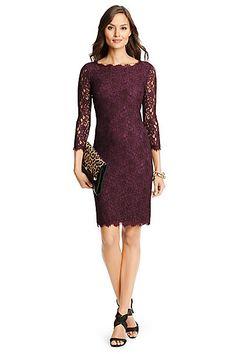 Zarita Long Lace Dress in Exotic Plum by DVF