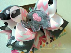 Embroidered Elephant Boutique Style Hair Bow Gray Polka Dots Pink Chevron via Etsy
