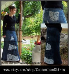 Lucy Lace pieced and patched long denim skirt custom made to your ( lovely elegant and modest)