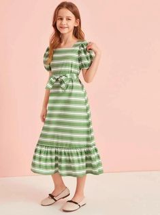To find out about the Girls Puff Sleeve Ruffle Hem Belted Striped Dress at SHEIN, part of our latest Girls Dresses ready to shop online today! Frocks For Girls, Cute Girl Outfits, Little Girl Dresses, Girls Dresses, Girls Fashion Clothes, Girl Fashion, Fashion Dresses, Houndstooth Dress, Striped Dress