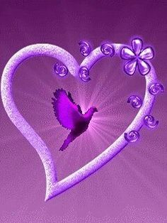 "Purple heart Love this heart! Love the bird flying within the heart itself. Makes my heart "" soar"", too! Purple Stuff, Purple Love, All Things Purple, Shades Of Purple, Pink Purple, Purple Hearts, Purple Bird, My Favorite Color, My Favorite Things"