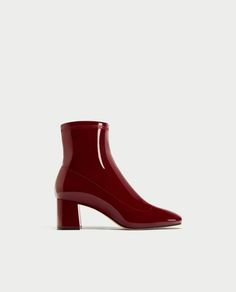 Image 2 of HIGH HEEL FAUX PATENT ANKLE BOOTS from Zara