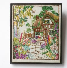 Embroidered picture of a cottage garden - gorgeous detail - at www.theformemporium.co.uk