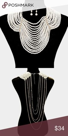 "Draped Pearl Necklace • Theme : Pearl  • Necklace Size : 18"" + 3"" L  • Decor Size : 6"" L  • Earrings Size : 1.75"" L • Draped multi-strand pearl bib necklace Jewelry Necklaces"