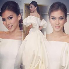 """""""Thank you and for my hair and make up and for my style and look ❤️ Star Magic Ball, Everyday Makeup, Formal Dresses, Wedding Dresses, My Hair, One Shoulder Wedding Dress, Make Up, Hairstyle, My Style"""