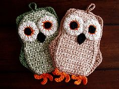 Whooo Whooo wouldn't have fun crocheting their very own owl potholder? Make yours in any color combination to suit your decor. These little cuties work up quickly and make great gifts. They also love to hang out on your wall. If you leave them out at night they will steal snacks from your kitchen - apples are their favorite!