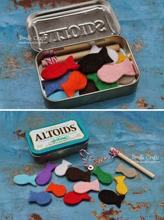mommo design: IN A MINT TIN.magnetic fishing set Perfect for kids on the go Operation Christmas Child, Diy For Kids, Crafts For Kids, Easy Crafts, Mint Tins, Altoids Tins, Travel Toys, Diy Toys, Felt Crafts
