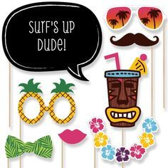 Luau - Hawaiian Photo Booth Props Kit - 20 Count