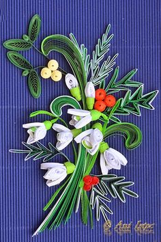 Quilled snowdrops and others. Site not English. Quilling Paper Craft, Quilling Flowers, Quilling Patterns, Quilling Cards, Paper Quilling, Paper Crafts, Diy Crafts, Quilling Videos, Quilling Techniques