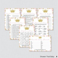 Pink and Gold Princess Baby Shower Games Package - Seven Printable Games: Bingo, Price is Right, etc 2nd Baby Showers, Baby Shower Bingo, Baby Shower Printables, Shower Party, Shower Gifts, Baby Shower Princess, Baby Princess, Baby Animal Name Game, Baby Word Scramble