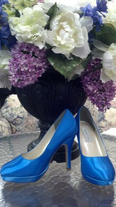 Marine Blue wedding platform shoes, custom dyed by www.thebridesshoppe.net Dyed Shoes, How To Dye Shoes, Something Blue Wedding, Blue Weddings, Pastel Shades, Marine Blue, Pumps, Heels, Platform Shoes