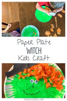 Paper Plate Witch craft that even toddlers and preschoolers can have fun making. Halloween Crafts For Kids, Craft Projects For Kids, Halloween Fun, Holiday Crafts, Craft Kids, Kids Crafts, Art Projects, Easy Diy Crafts, Cute Crafts