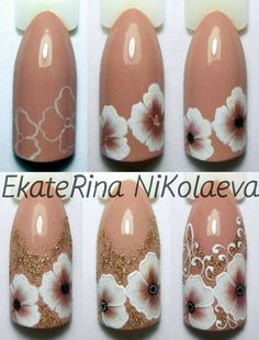 Step by step one stroke nails Cute Simple Nails, Pretty Nails, Nail Polish Designs, Nail Art Designs, Nail Art Modele, Nail Ink, Art Deco Nails, One Stroke Nails, Nail Techniques