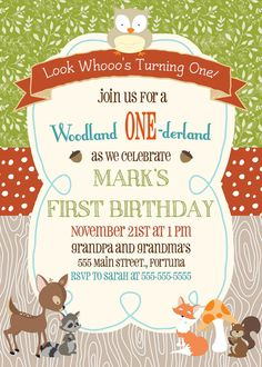 Woodland Creature Birthday Invitation by ScrappersEdge on Etsy