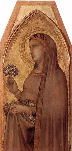 Ambrogio Lorenzetti - Santa Dorotea, dettaglio Madonna con il Bambino con Maria Maddalena e Santa Dorotea - c. 1325 - tempera su legno - Pinacoteca Nazionale, Siena