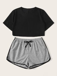 Crop Top With Contrast Binding Shorts PJ Set – Source by pazzibaldoni – – Tanja Holtzmann Cute Lazy Outfits, Teenage Outfits, Sporty Outfits, Pretty Outfits, Fashionable Outfits, Grunge Outfits, Work Outfits, Girls Fashion Clothes, Teen Fashion Outfits