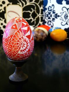 Hand Etched DUCK EGG Dark Red ABSTACT Scratched Lithuanian Carved Pysanky Egg FREE WOODEN STAND and Ornament Convertible