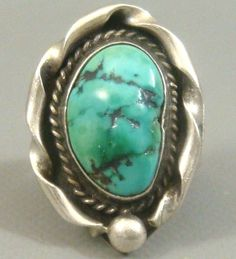 BIG Vintage 1970's NAVAJO Old Pawn *DAMALE* Turquoise & Sterling Silver Ring #NavajoOldPawn