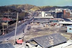 Seoul: View of the back of Ewha Womans University, Seodaemun before the back gate was built, circa 1970.  1970년대. 이대후문 방향 개발 전 모습.