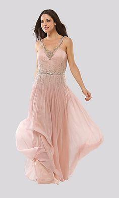 A-Line Chiffon V-neck Long Dress Charm87089