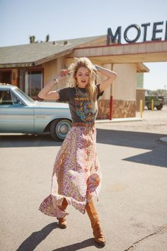 Boho -- leather boots, a long pastel skirt, and a soft rocker tee