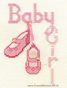 Baby Girl Greetings Card Cross Stitch Kit