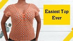 In this tutorial will teach you how to make a Crochet Sweater Top. If you can make a granny square, then you can do this. I will take you step-by-step in creating this crochet sweater. Crochet Summer Tops, Easy Crochet, Crochet Top, Crochet Shrugs, Kids Crochet, Tutorial Crochet, Scarf Crochet, Modern Crochet, Chunky Crochet