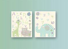Kids Wall Art Nursery Decor, Carter Zoo, Baby girl Room Art, Set 2 prints,Nursery Art Decor, purple, green, aqua, turquoise, Gray, Hippo, AB