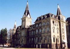 """Alma College in St. Thomas, Ontario from another angle. The building was used in the movie ¨Silent Hill"""" and later the exterior was used in the movie ¨Orphan¨. It burned down in 2008."""