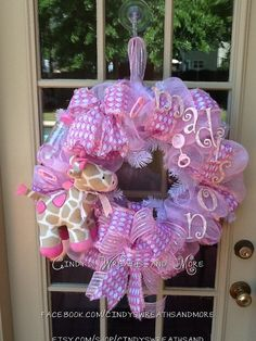 Baby Girl Giraffe Wreath, Baby Wreath, Pink and White, Hand painted letters, Deco Mesh, Nursery Wreath, Baby Shower,