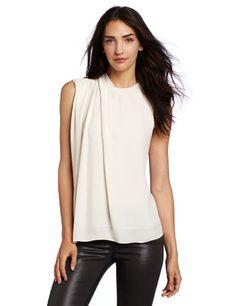 Halston Heritage Women's Short Sleeve Blouse With Shoulder Pleat Detail, Bone, Medium | Traveling Of Life