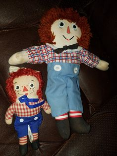 Vintage Set of 2 Raggedy Andy Dolls by VintageBarnYard on Etsy