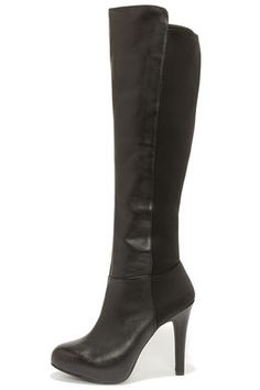 Jessica Simpson Avalona Black Leather Knee High Heel Boots