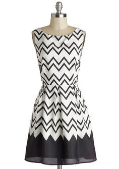 Interviews At The Party Dress in Black - Chiffon, Mid-length, Woven, White, Black, Chevron, Party, A-line, Sleeveless, Good, Work, Variation...