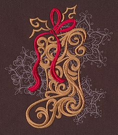 """""""Baroque Noel - Stocking"""" Craft a glamorous Christmas with this beautiful, swirling stocking design! - UT7144 (Machine Embroidery) 00572034-112013-0830-6"""