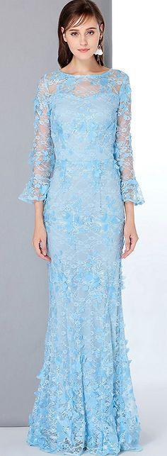 Elegant O-Neck Long Sleeve Lace Embroidery Slim Maxi Dress