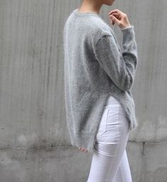 grey knits with white denim