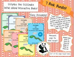 Spike the Snake Single Target Bundle: Interactive Books for Phonological Processing 25% savings!Initial sblend targets: sn, sm, st, sp, sk, sl, & sw  (7 books total)These are fun and interactive books that targets initial sblends.  These books come with a unique snake piece (Spike) that the student gets to hold throughout the book as a cue to use their /s/ sound in initial sblend words.