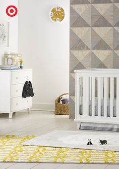 Designing a modern nursery? Begin with the Delta Children Ava 3-in-1 convertible crib (it adjusts with your growing child!) and matching 3-drawer dresser. Add in soft shades of gray, a patterned rug and geometric decor—ta-da!—a perfectly cool space for Baby.