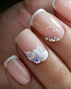 """Get great pointers on """"acrylic nail art designs rhinestones"""". They are actually accessible for you on our web site. 3d Acrylic Nails, Glitter Nail Art, 3d Nails, Nail Manicure, Cute Nails, Pretty Nails, Bride Nails, Wedding Nails, 3d Nail Designs"""