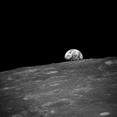 "The first photo from Frank Borman of ""Earthrise"". Soon after, Anders would take the color photo that would become one of the most iconic photos in history."