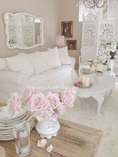 Shabby Chic Room, like this, with lacey curtains, Fairy lights and sage green accessories.