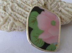 Broken China Necklace Pendant  Chaney Sterling  Pink  Green Flower  Pendant  Fused by MaroonedJewelry on Etsy