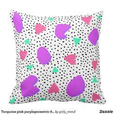 Turquoise pink purplegeometric 80s 90s pattern throw pillow
