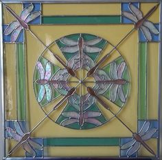 DRAGONFLY KALEIDOSCOPE Stained Glass Panel in by HipChickJewelry, $575.00