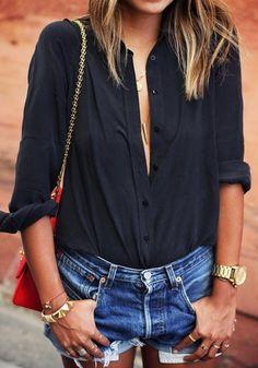 Black Plain Buttons Lapel V-neck Long Sleeve Loose Casual Blouse