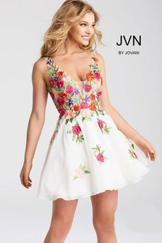 Fit and Flare Multi Color Floral Embroidered Short Dress JVN54513 at One Enchanted Evening