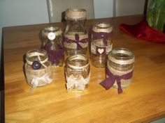 Shabby Chic/Vintage Decorated Glass Jars Tealight Holders x 6
