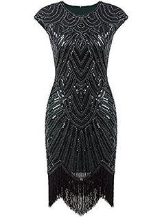 Amazon.com: Vijiv Art Deco Great Gatsby Inspired Tassel Beaded 1920s Flapper Dress: Clothing